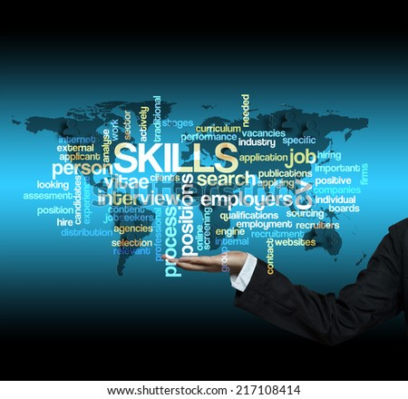 "Executive hold-""SKILLS word cloud arrangement"" - stock photo"