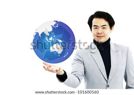 Executive holding out globe on white background - stock photo