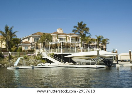 Executive home in a waterfront community in Northern California with waterfront access to the delta - stock photo