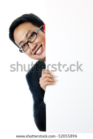 Executive male hiding on a blank space. - stock photo