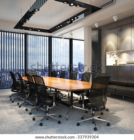 Executive modern empty business office conference room overlooking a city. Photo realistic 3d model scene. - stock photo