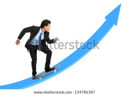 executive on skateboard going up the rising chart isolated over white background