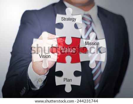 Executive pointing value concept - stock photo