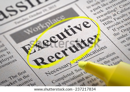 Executive Recruiter Vacancy in Newspaper. Job Search Concept.