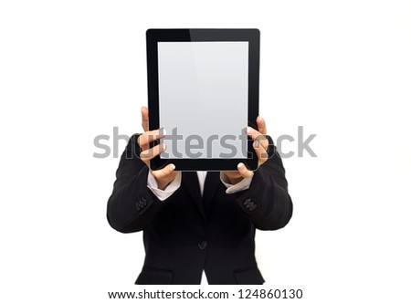 Executive showing a digital tablet with blank screen isolated on white background - stock photo