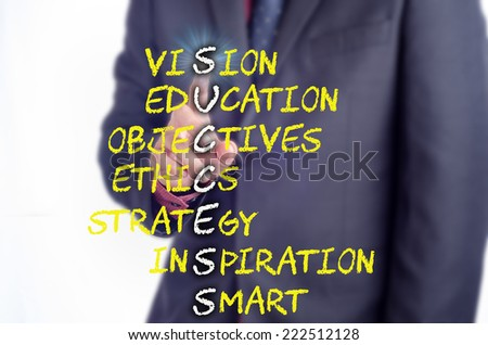 Executive touch the SUCCESS acronym on the virtual screen: Business concept - stock photo
