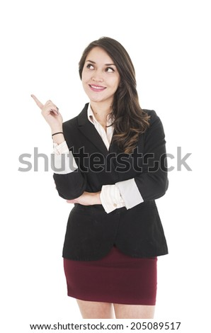 executive young girl pointing with her finger to blank space isolated on white