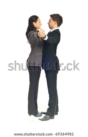 Executives people couple dancing waltz isolated on white background - stock photo
