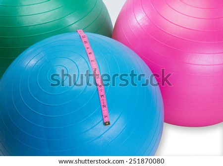 Exercise balls at gym for workout groups - stock photo