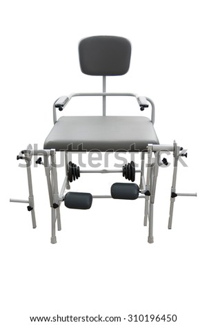Exercise bench and dumbbells. Gym equipment isolated on white background. - stock photo