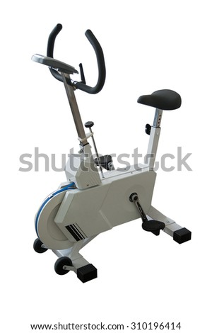 Exercise bicycle isolated on a white background. - stock photo