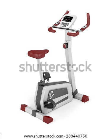 Exercise bicycle on white background - stock photo
