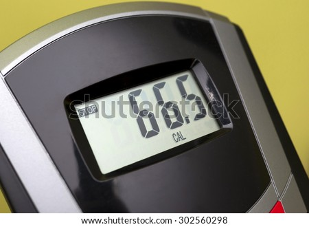 exercise bike display - shows the calories burned - stock photo