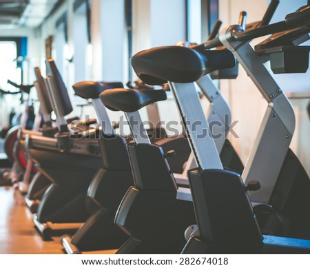 exercise bikes in the gym - stock photo