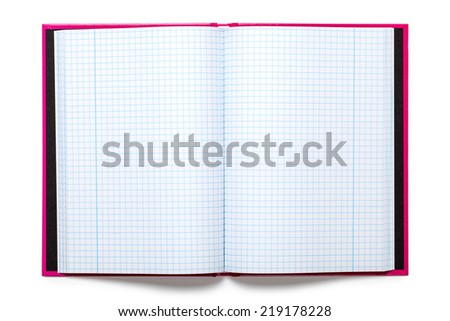 Exercise book on white background. Top view - stock photo