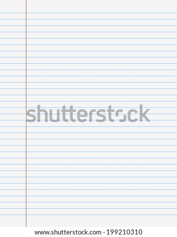 Exercise book paper one page with lines for writing,  - stock photo