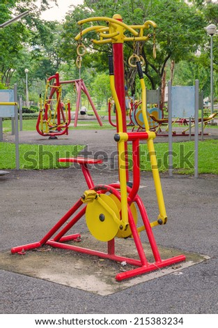 Exercise equipment in public park.