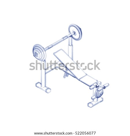 Exercise machine.Isolated on white background.Sketch illustration.Isometric view.