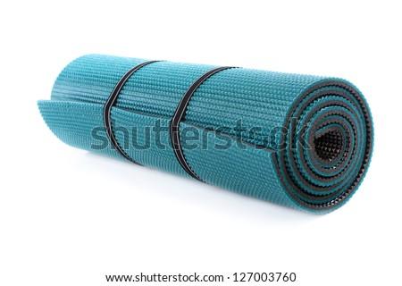 Exercise Mat, white background - stock photo