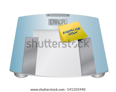 exercise now sign on a weight scale. illustration design over white - stock photo