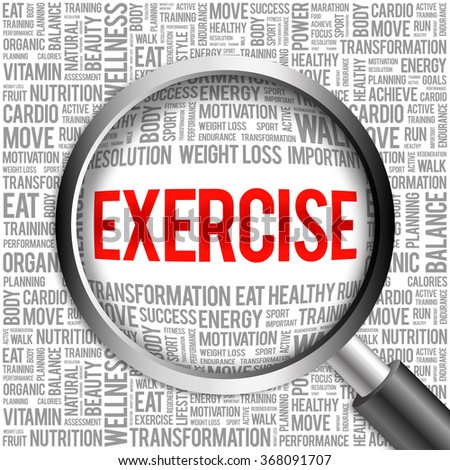 EXERCISE word cloud with magnifying glass, health concept