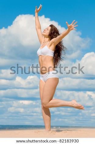 Exercising Posing Workout - stock photo