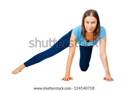 exercising woman isolated on white - stock photo