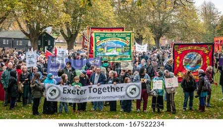 EXETER - NOVEMBER 16: Exeter Together gather for the march during the Exeter Together march and diversity festival on November 16, 2013 in Exeter, Devon, UK - stock photo