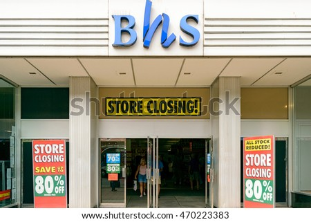 EXETER, UK - 17 AUGUST 2016:  An exterior view of the BHS (British Home Stores) store on Fore Street. Theresa May wants to 'reform capitalism' after Philip Green BHS scandal