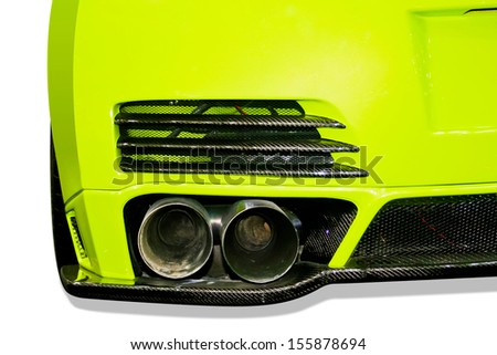 exhaust pipe of a green car close up retouched on white background - stock photo