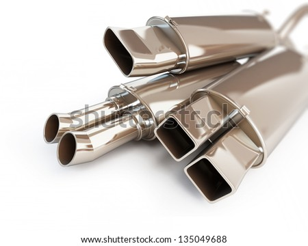 exhaust silencer automobile muffler. 3d Illustrations on a white background - stock photo