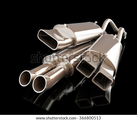exhaust silencer automobile muffler on a black background
