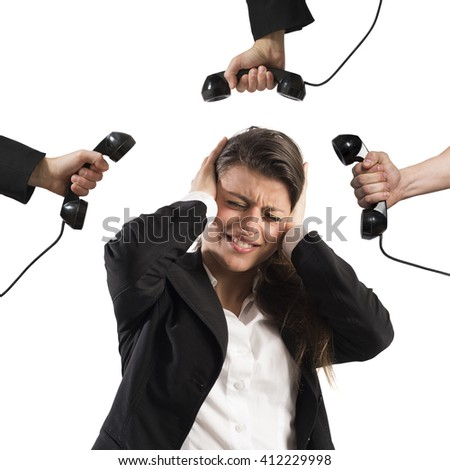 Exhausted from business calls - stock photo