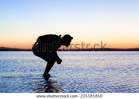 Exhausted man - stock photo