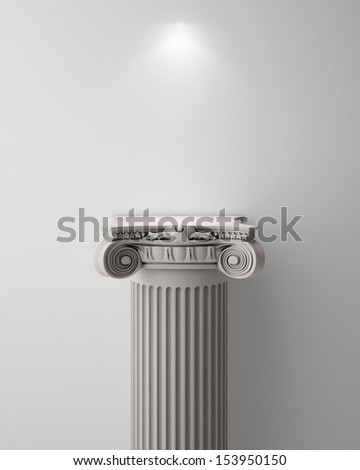 Exhibit Pillar with Light, render - stock photo