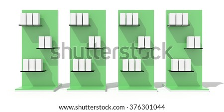 Exhibition displays, isolated on white. Copy space 3d illustration, original design.