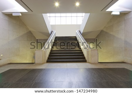 exhibition hall stairs with lights - stock photo