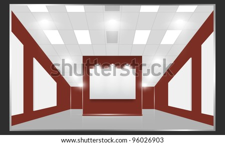 Exhibition hall with white frames on the red wall, illuminated by floodlights. - stock photo