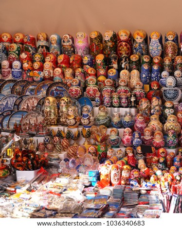 exhibition of nested dolls on at the Russian fair