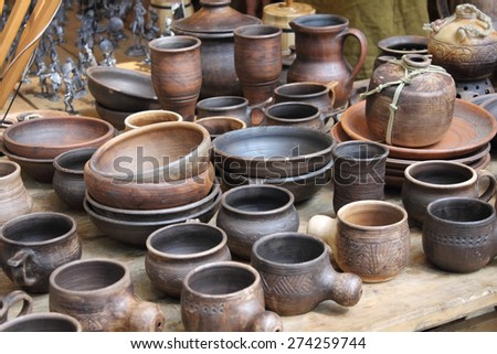 exhibition of tableware early middle ages in the historical reconstruction - stock photo