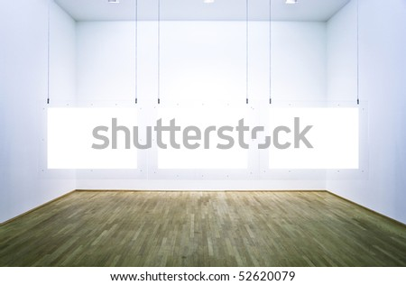 Exhibition room with three pictures. white background - stock photo
