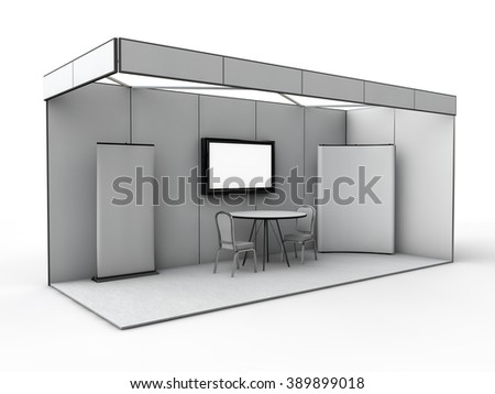 Exhibition stand mock up 3d render - stock photo