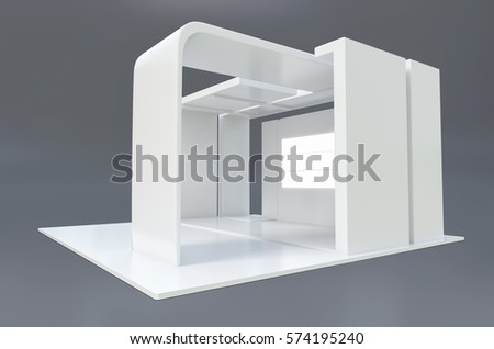 Retail Stand Design Elements 3d Illustration Exhibition Plain Used For Mock Ups And Branding Corporate IdentityRetail