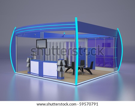 Exhibition stand.Right view. - stock photo
