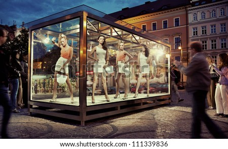 Exhibition window in a city center