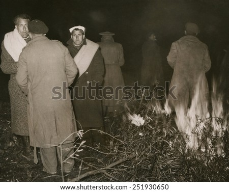 Exiled defeated Republican soldiers encamped at Boulou, France. Spanish Civil War. Feb. 7, 1939. - stock photo