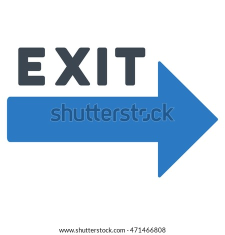 Exit Arrow icon. Glyph style is bicolor flat iconic symbol with rounded angles, smooth blue colors, white background.