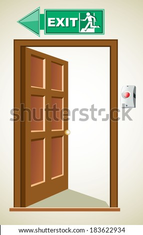 exit door, sign with human figure on stairs