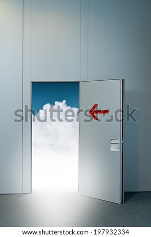 Exit door to heaven, conceptual image. Leaving all problems behind, walking into a new life, retirement and withdrawal concept. - stock photo