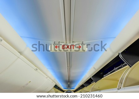 exit emergency on plane - stock photo
